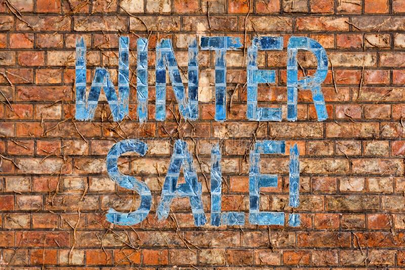 显示冬天销售的概念性手文字 企业照片文本场合,当商店比他们卖事在较少 皇族释放例证
