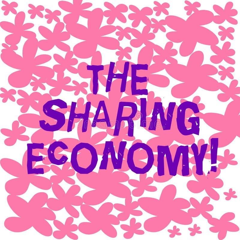 显示分享的经济的文本标志 概念性照片系统财产或服务分享在徒手画个体之间 皇族释放例证