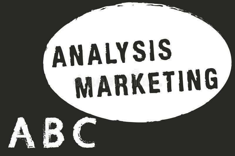 显示分析行销的文本标志 概念性对市场的照片定量和定性评估 皇族释放例证