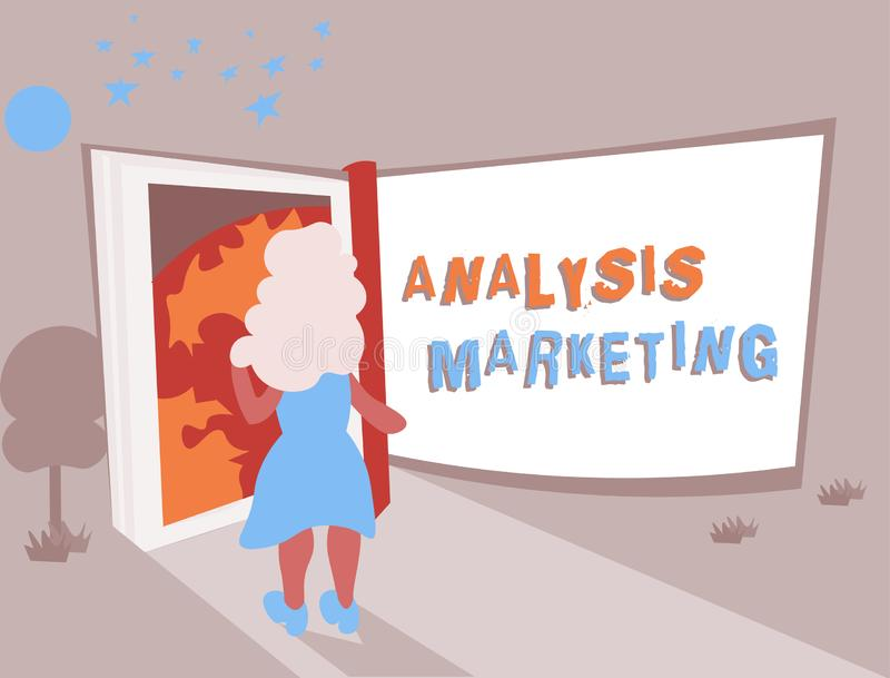 显示分析行销的概念性手文字 对市场的企业照片文本定量和定性评估 向量例证