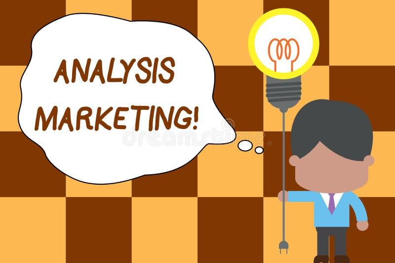 显示分析行销的概念性手文字 对a的企业照片文本定量和定性评估 库存例证