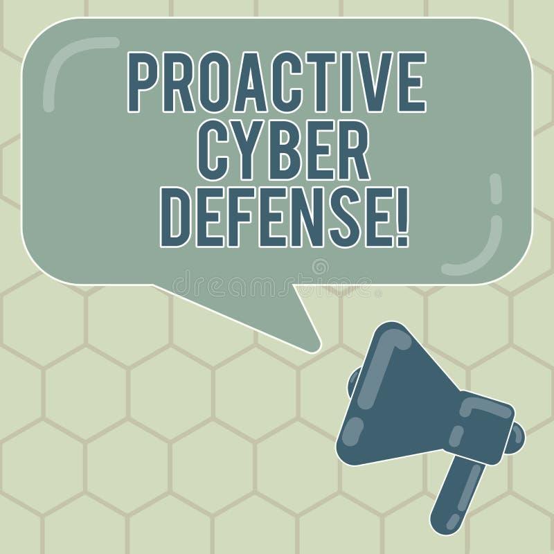 显示前摄网络防御的概念性手文字 企业照片反对攻击介入的文本预期 向量例证
