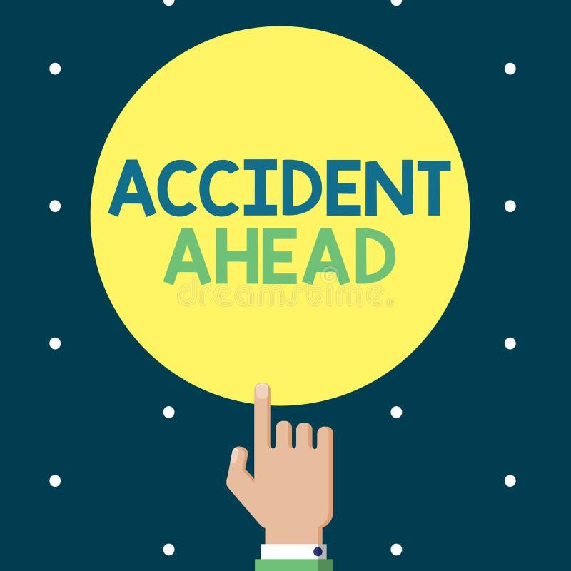显示前面事故的文字笔记 陈列不幸的事件的企业照片是准备的改道避免尾板 库存例证