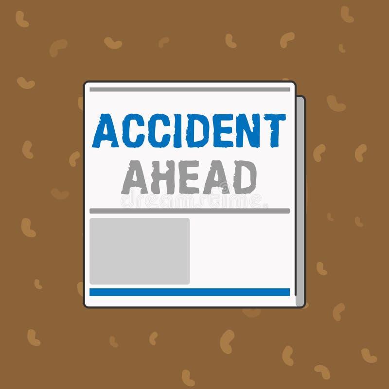 显示前面事故的概念性手文字 企业照片文本不幸的事件是准备的改道避免尾板 库存例证