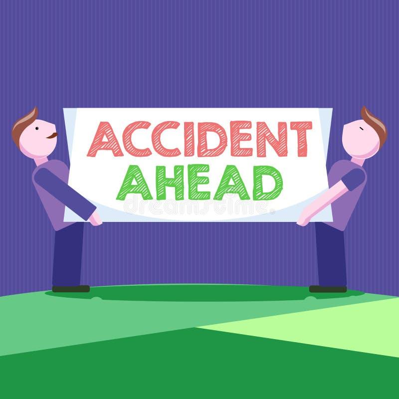 显示前面事故的概念性手文字 陈列不幸的事件的企业照片是准备的改道避免尾板 皇族释放例证
