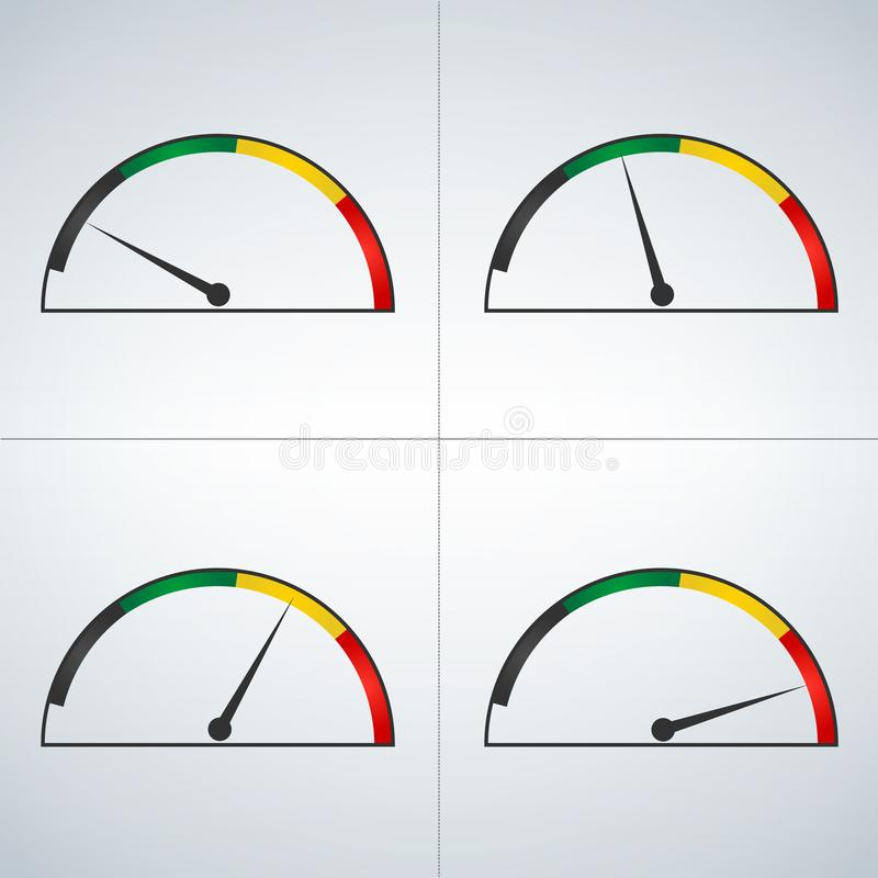 显示功率电平从低落的传染媒介套色的测量仪到上流 对最大值的极小值 对最大分钟 皇族释放例证
