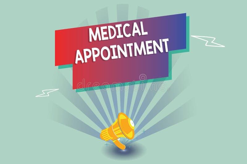 显示医疗任命的文本标志 与一位审查的或其他医疗保健专家的概念性照相讲席会 向量例证