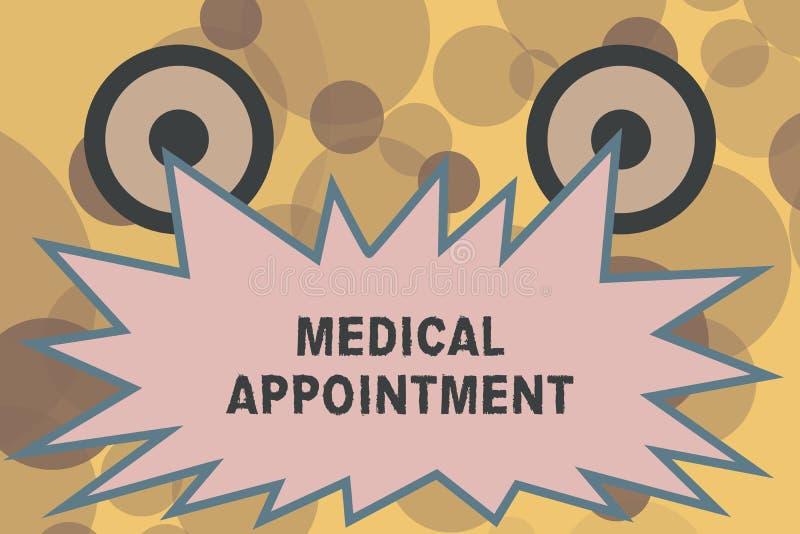 显示医疗任命的文本标志 与一位审查的或其他医疗保健专家的概念性照相讲席会 皇族释放例证