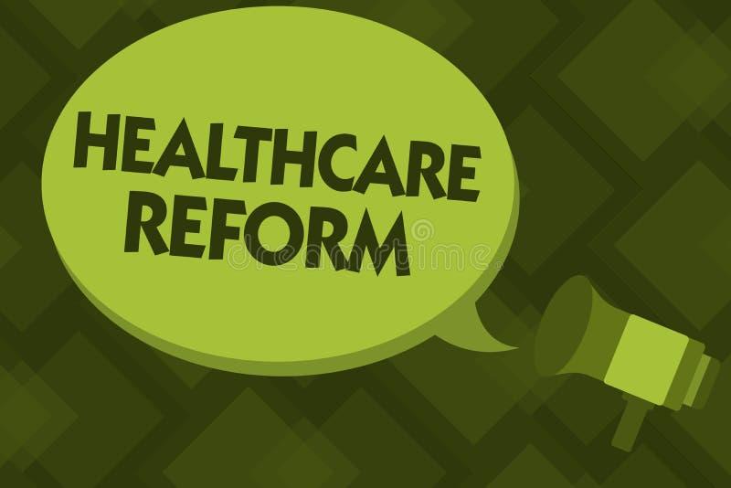 显示医疗保健改革的文字笔记 企业照片陈列的创新和改善进入关心节目的质量 库存例证