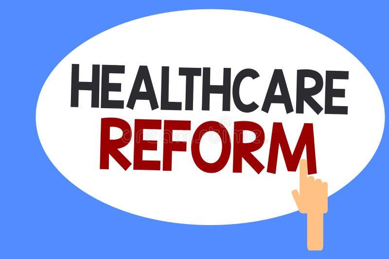 显示医疗保健改革的概念性手文字 企业照片陈列的创新和改善进入赞成关心的质量 库存例证