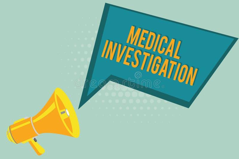 显示医疗调查的文本标志 做分析的概念性照片收集数据为新的药物或设备 向量例证