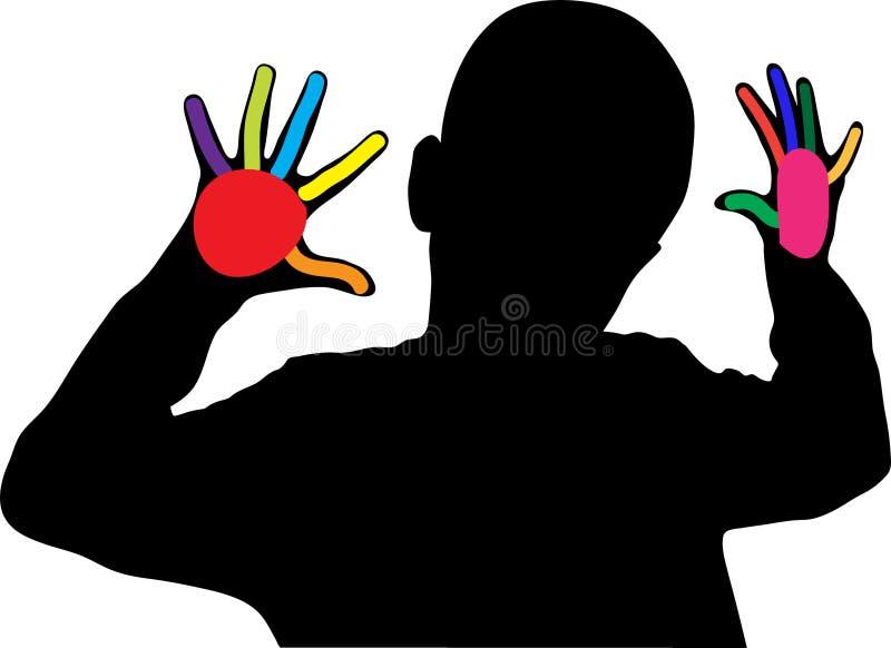 显示十个手指的男孩 库存例证