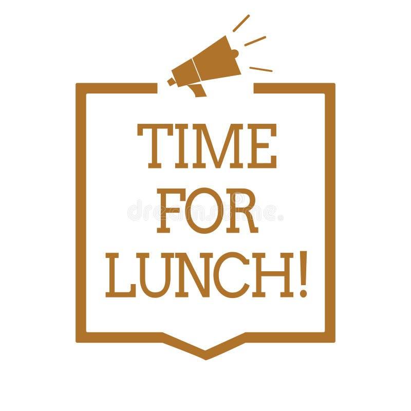 显示午餐的文本标志时刻 安排概念性照片的片刻从工作Relax的进餐休息吃饮料休息扩音机loudspeake 皇族释放例证