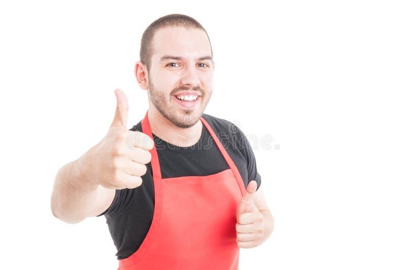 显示双的快乐的超级市场雇员喜欢标志 免版税库存照片