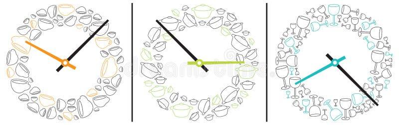 显示吃的和饮用的时间的三个时钟 免版税库存照片