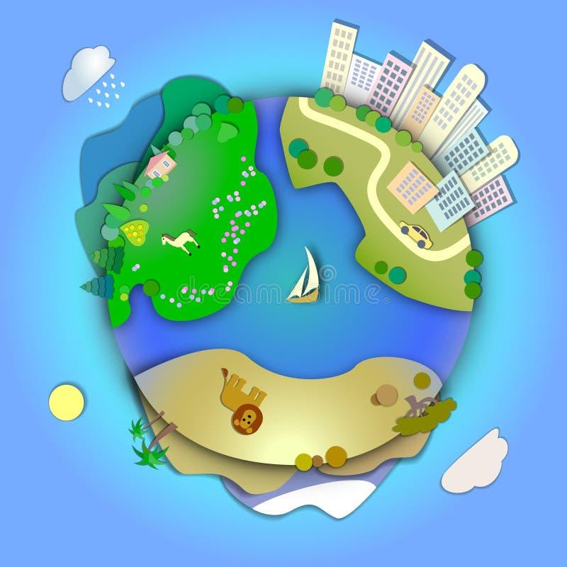 显示各种各样的风景的微型地球喜欢山,沙漠, 向量例证