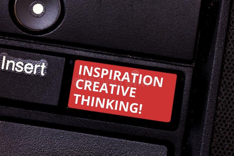 显示启发创造性思为的文本标志 概念性照片能力搞到新鲜和新的想法键盘 免版税库存照片