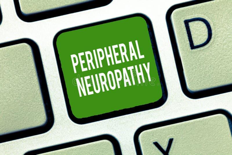 显示周边神经病的文本标志 概念性照片情况,损坏周围神经系统 免版税库存照片