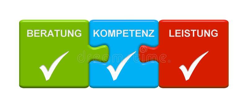 显示咨询的专门技术表现德语的3个难题按钮 库存例证