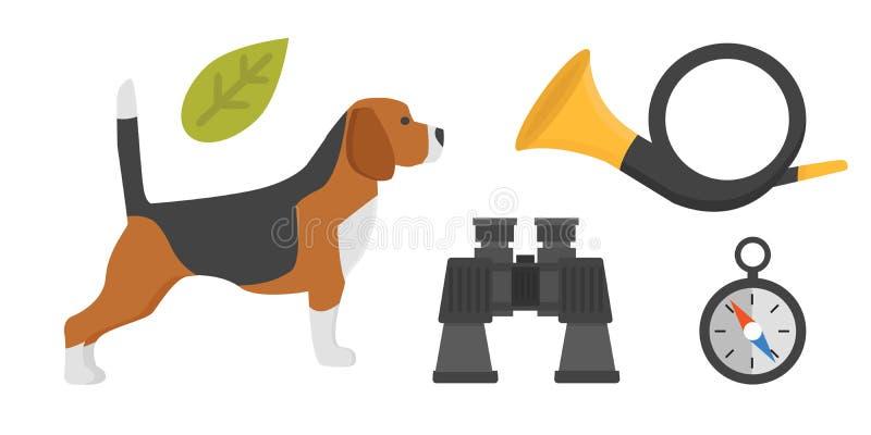 显示品种小猎犬狗在白色背景猎人快速的动物美丽的友好的狗可爱的家谱小狗的 向量例证