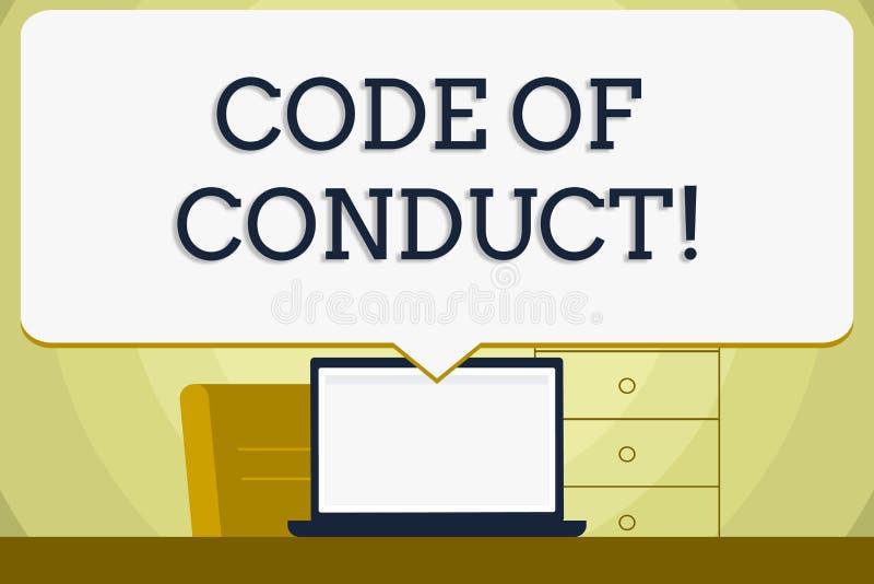 显示品行规范的概念性手文字 企业照片陈列按照原则和标准事务的 库存例证