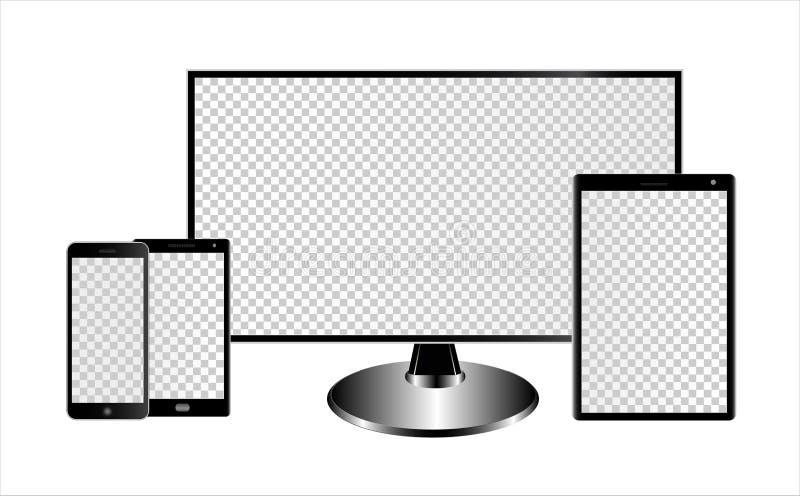 显示器、片剂计算机和智能手机的大模型有透明屏幕的在白色背景 能使用作为模板 向量例证