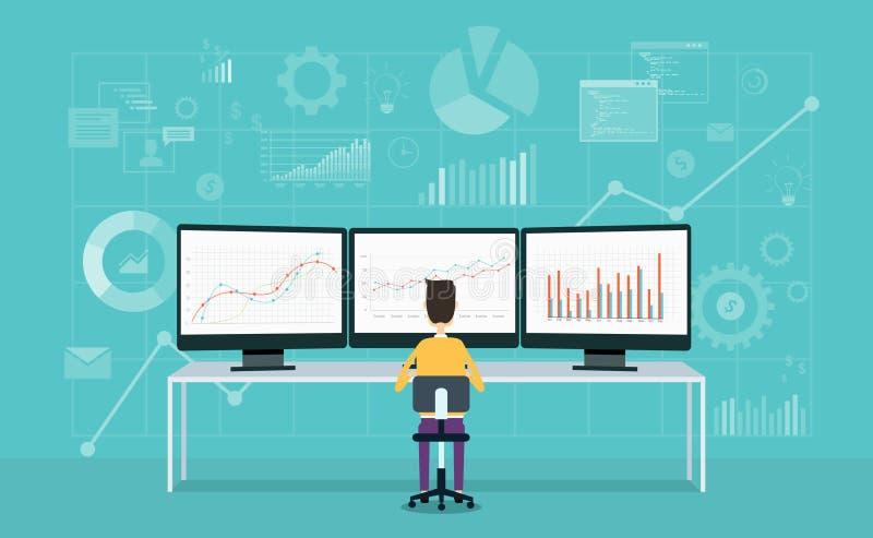 显示器报告图表和事务的商人分析 向量例证