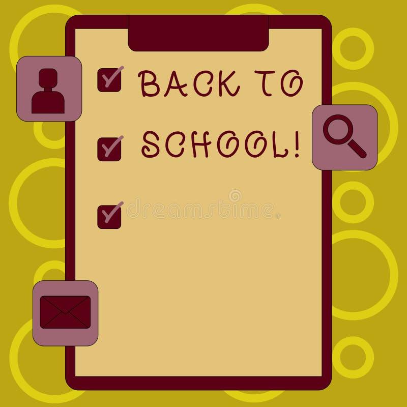 显示回到学校的文字笔记 陈列正确时间的企业照片购买书包,笔,书,固定式 皇族释放例证