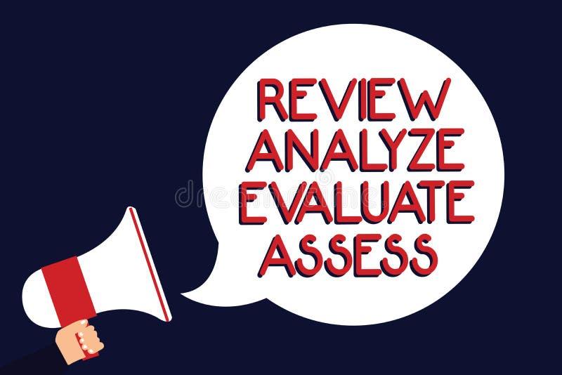 显示回顾的文字笔记分析评估估计 表现反馈过程人举行的企业照片陈列的评估 向量例证
