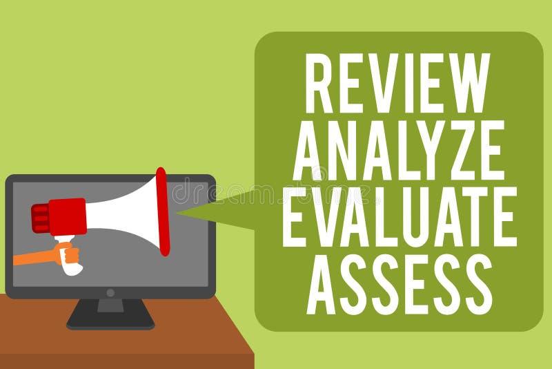 显示回顾的概念性手文字分析评估估计 企业照片表现反馈过程人的文本评估 库存例证