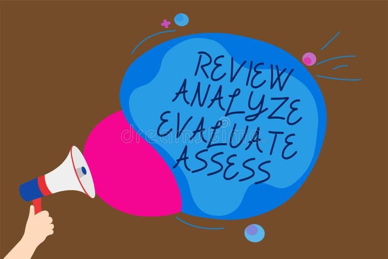 显示回顾的概念性手文字分析评估估计 企业照片表现反馈过程人的文本评估 向量例证