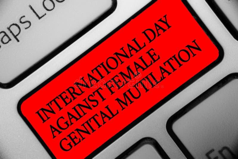 显示国际天的文字笔记反对女性生殖切断 企业照片陈列的了悟天2月Keyboar 向量例证