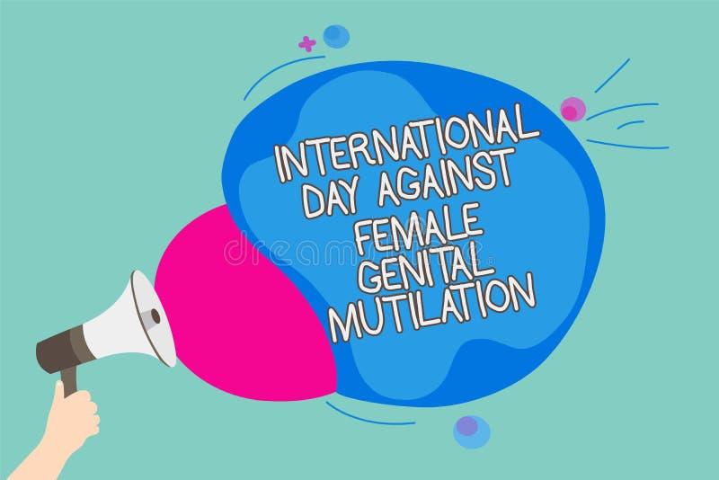 显示国际天的概念性手文字反对女性生殖切断 企业照片陈列的了悟天Febru 向量例证