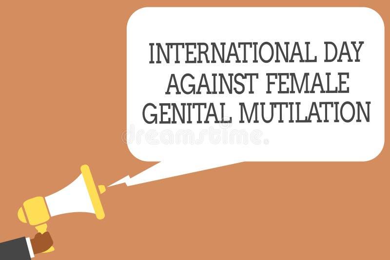 显示国际天的概念性手文字反对女性生殖切断 企业照片陈列的了悟天Febru 库存例证