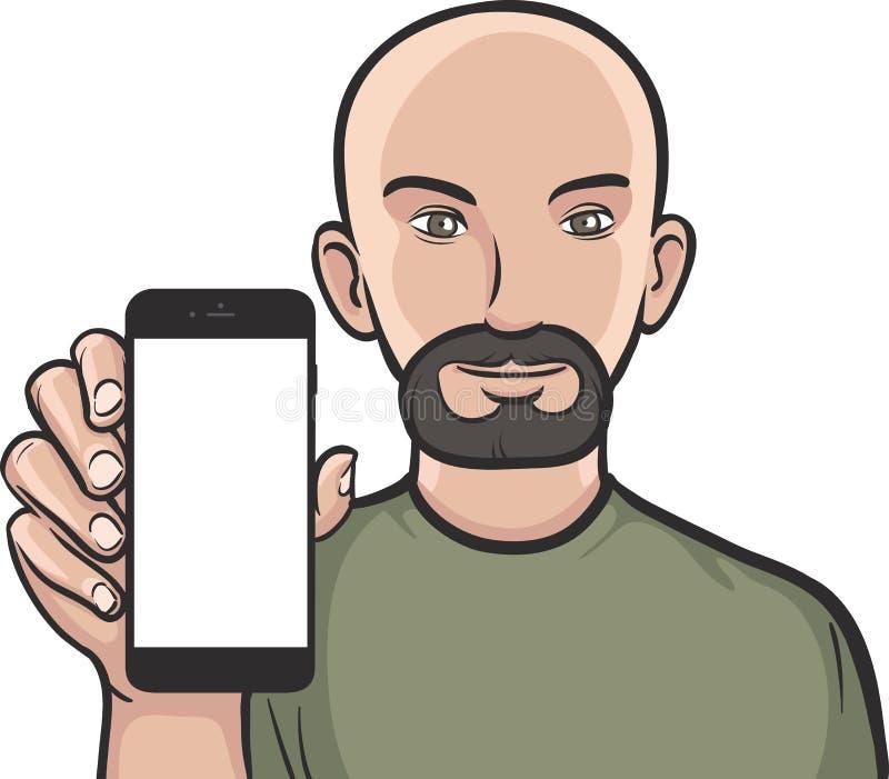 显示在一个巧妙的电话的有胡子的人流动app 库存例证