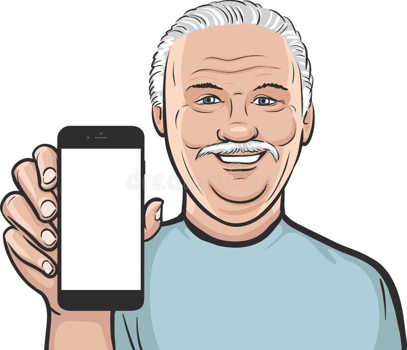 显示在一个巧妙的电话的老人流动app 库存例证