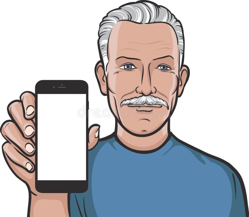 显示在一个巧妙的电话的髭老人流动app 向量例证