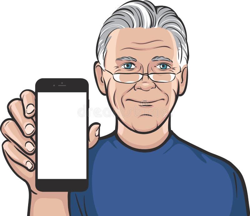 显示在一个巧妙的电话的玻璃的老人流动app 皇族释放例证