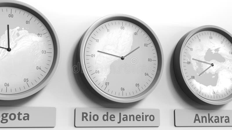 显示在世界时区内的里约热内卢,巴西的圆的时钟时间 3d概念性翻译 库存例证