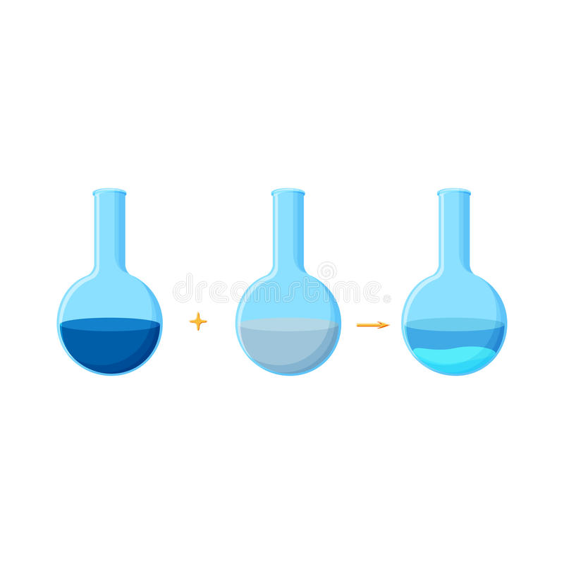 显示在两种可溶解化合物之间的反应与沉淀物的形成化工实验的图  库存例证