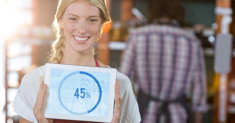 显示在数字式片剂的微笑的执行委员画象图表图 免版税库存照片