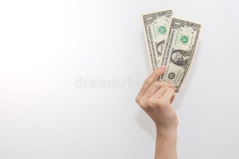 显示在白色的金钱钞票 图库摄影