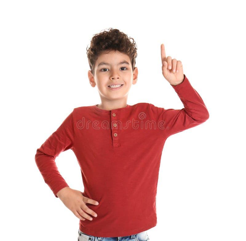 显示在白色背景的逗人喜爱的小男孩尤里卡标志 免版税库存照片