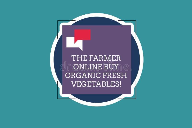 显示在网上农夫的文本标志买有机新鲜蔬菜 概念性照片购买健康食品两空的讲话泡影 向量例证