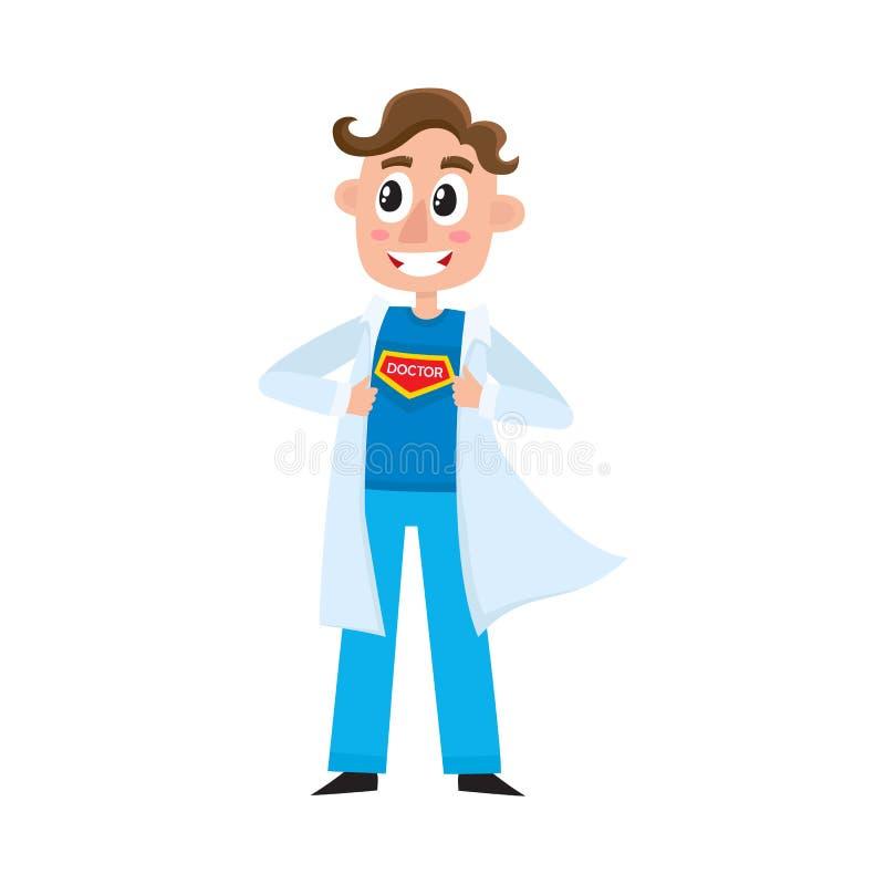 显示在胸口的年轻男性医生超级英雄标志 皇族释放例证