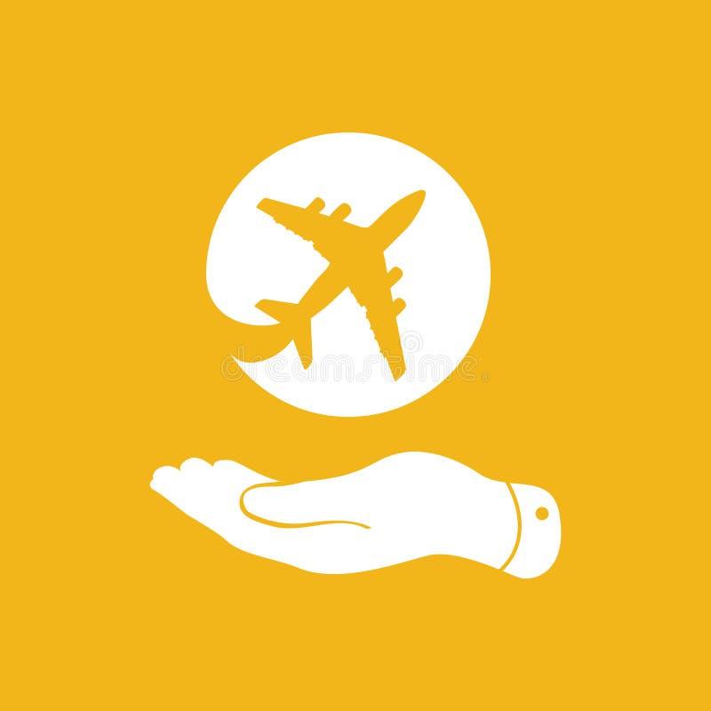 显示在黄色背景的白色平的手飞机象 皇族释放例证