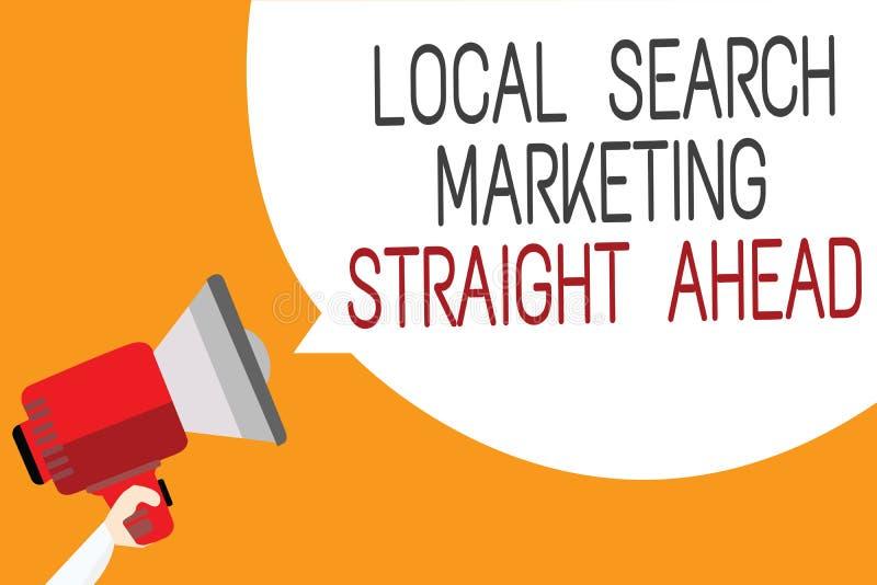 显示地方查寻的文本标志直向前销售 概念性照片回答对某人关于拿着megap的目的地人 向量例证