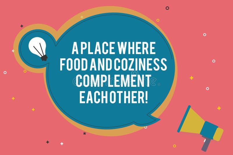 显示地方食物和舒适哪里的文本标志补全自己 概念性围绕讲话的照片舒适餐馆空白 库存例证