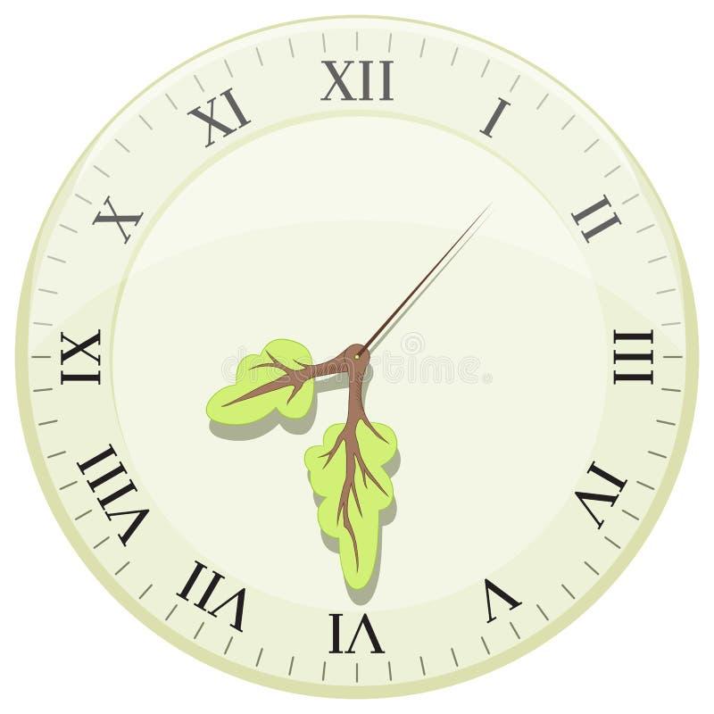 显示地球小时的时钟 以树的形式箭头 库存例证