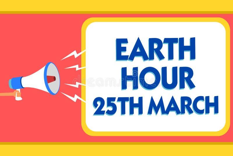 显示地球小时3月25日的文本标志 对行星的概念性照片标志承诺组织了警告全世界资金的消息si 皇族释放例证